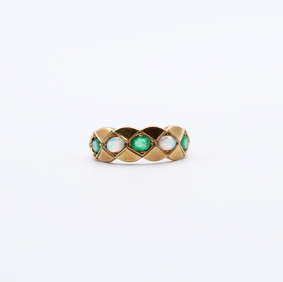 Emerald and Opal band ring