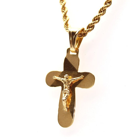 Gold cross pendant and rope chain