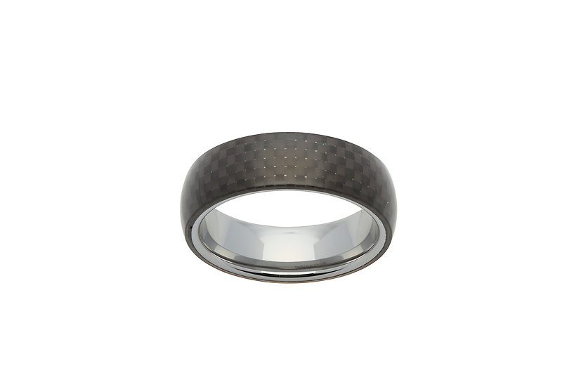 Tungsten square patterned band ring