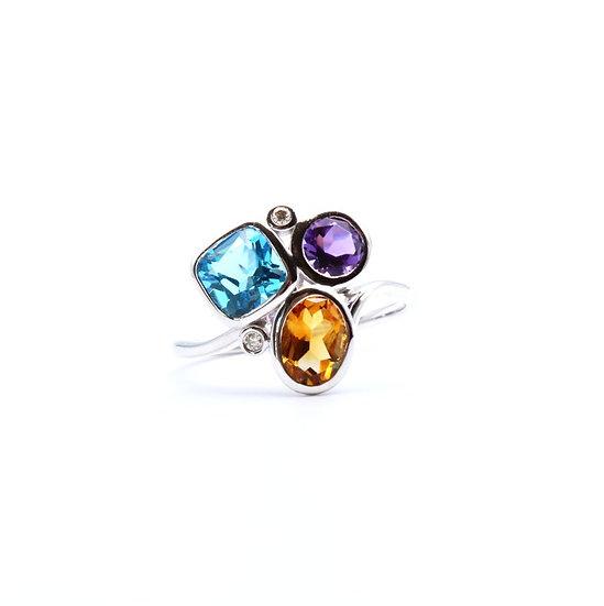 Multi stone and diamond dress ring