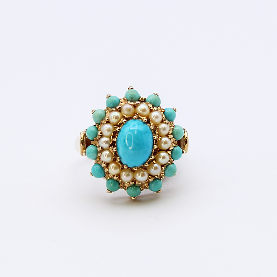 Turquoise and Cultured pearl ring