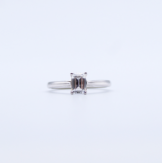 Cubic zirconia emerald cut ring