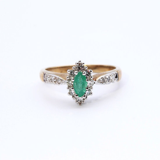 Emerald and Diamond marquise ring
