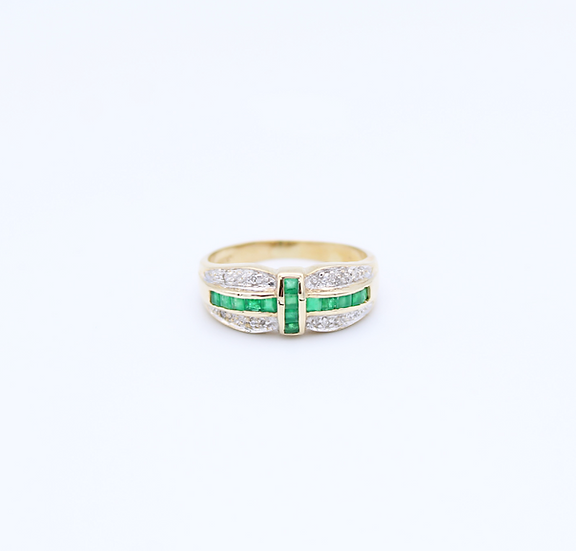 Emerald and Diamond art deco style ring