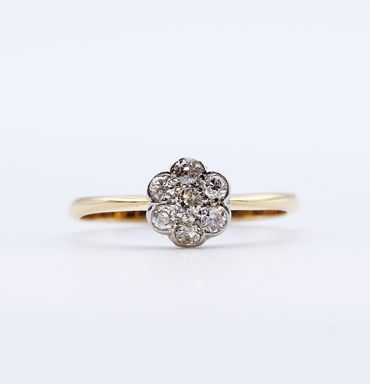 Diamond rubbed over setting daisy ring