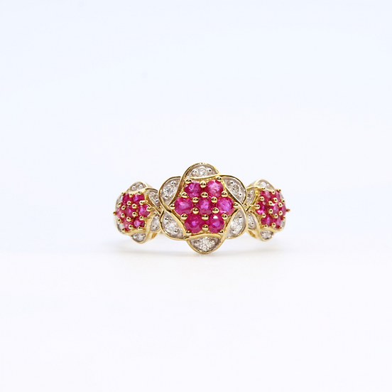 Ruby and Diamond floral design cluster ring