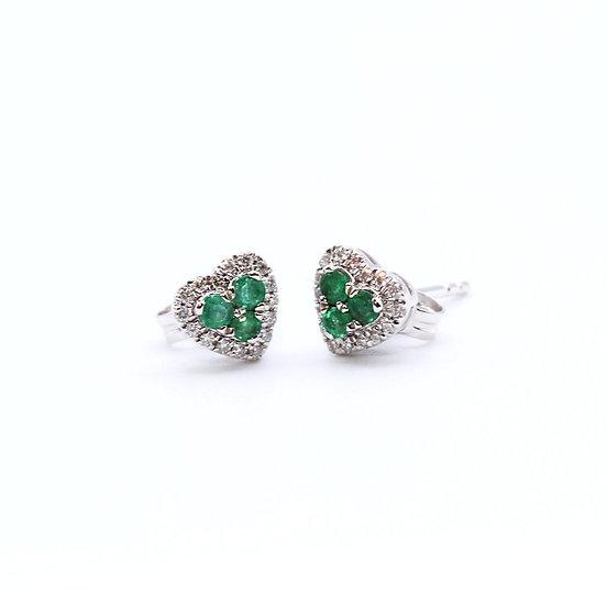 Emerald and Diamond heart earrings