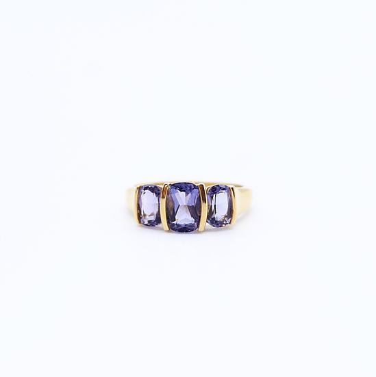 Iolite three stone ring