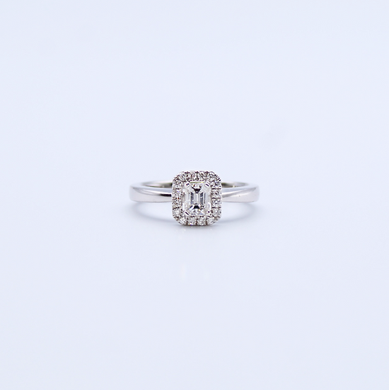 Diamond emerald cut cluster ring