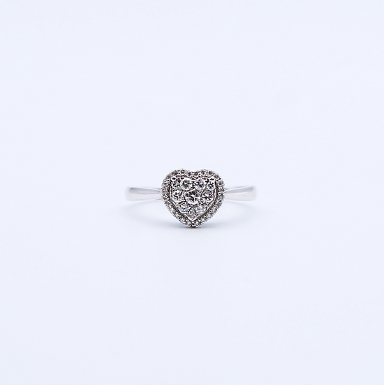 Heart shaped cluster ring