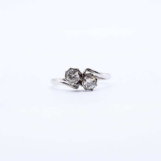 Diamond bezel set two stone ring