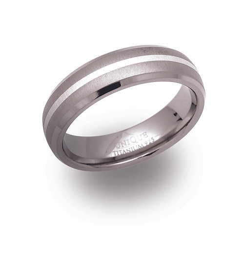 Titanium and Silver band ring