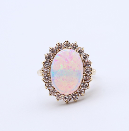 Created opal with cubic zirconia dress ring
