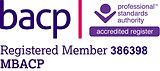BACP Registered Member badge. Membership number 386398