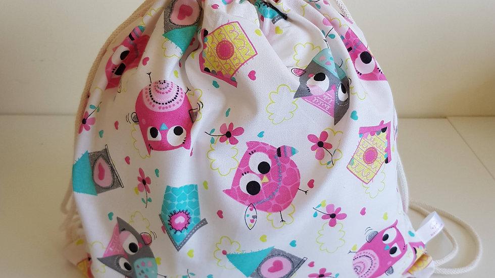 Drawstring backpack - owl print