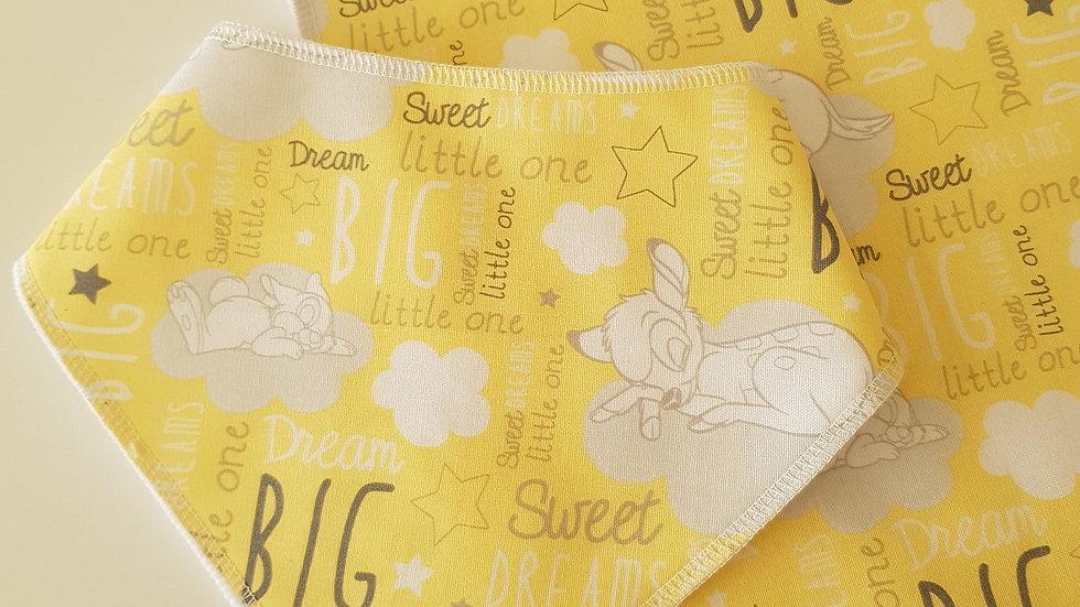 "Bib & burp cloth set - Bambi ""sweet dreams"" yellow/grey"