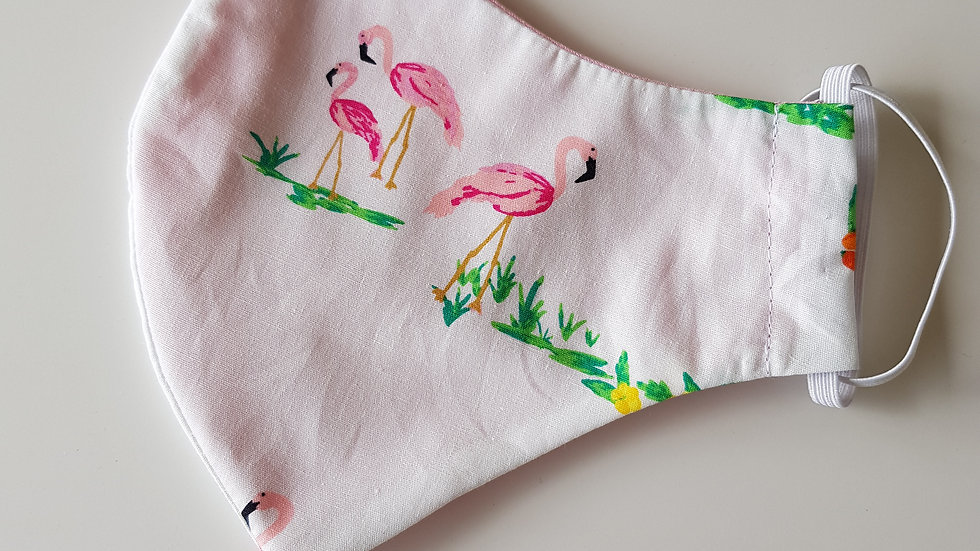 Flamingo print Fitted Mask