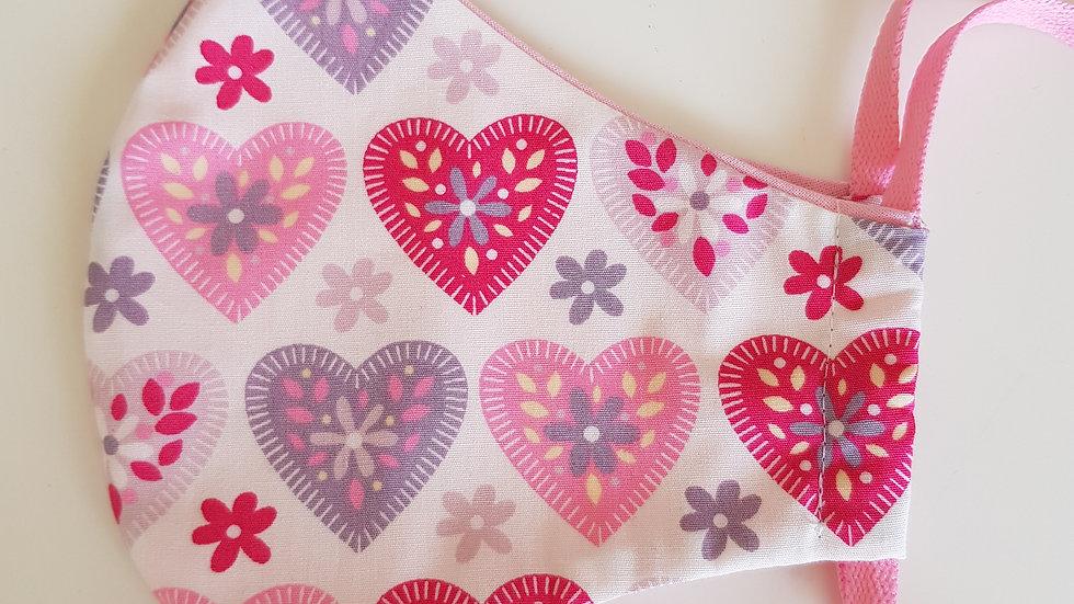 Heart print Fitted Mask