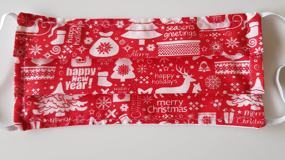 Christmas Barrier Mask - red