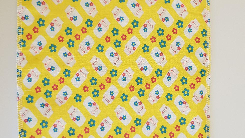 Burp Cloth - yellow milk bottles