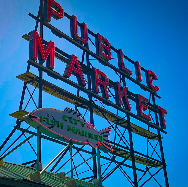 Famous Public Market sign at Pike Place Market in Seattle
