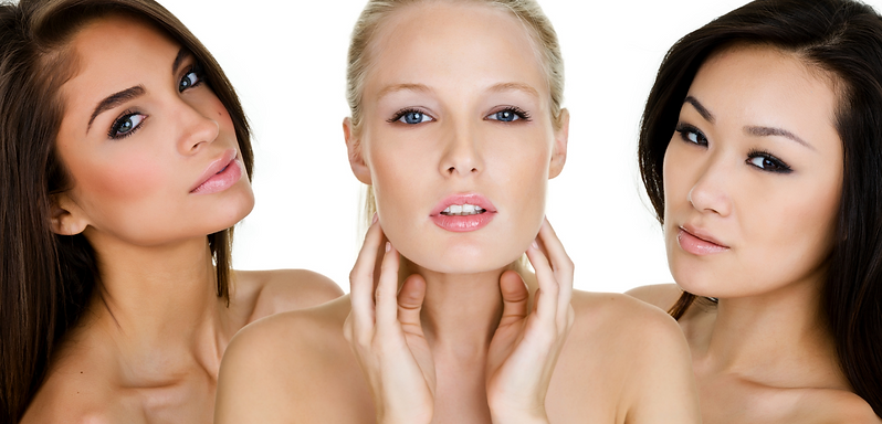 Women beautiful faces with skin care clinic botox fillers