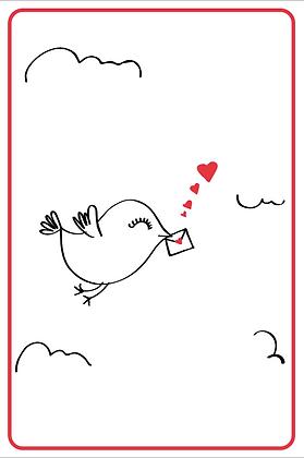 Vogel met brief kaartje