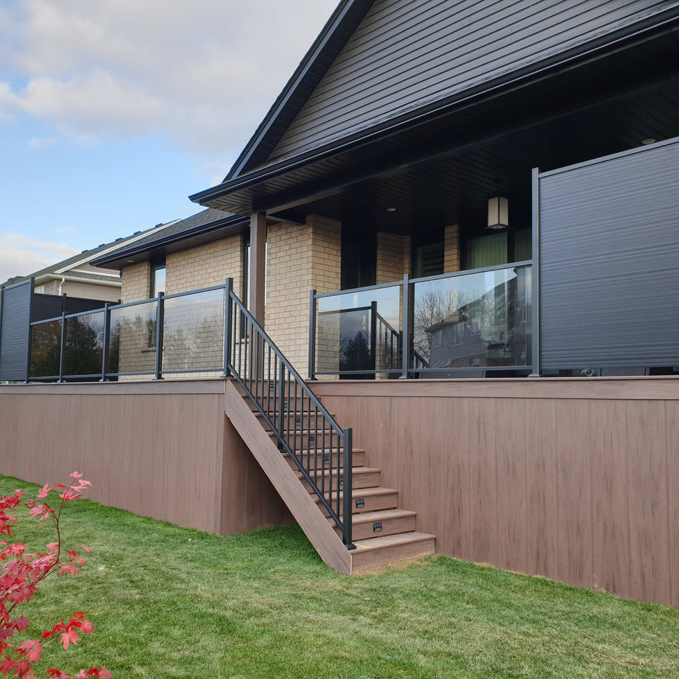 Black Aluminum Railing with Glass Panels and Black Aluminum Privacy Screen