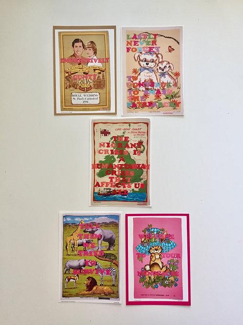 Set of 5 Subverted Vintage Tea Towel Postcards