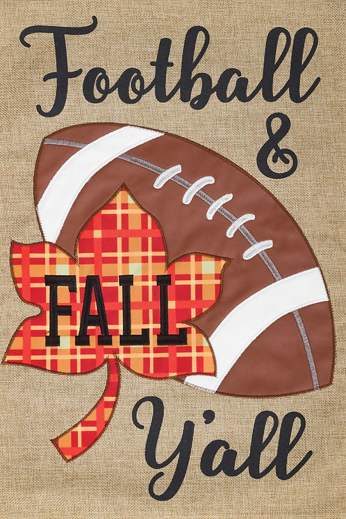 FOOTBALL & FALL BURLAP FLAG