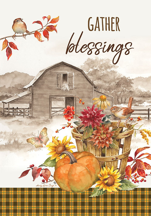 GATHER BLESSINGS LARGE DOUBLE SIDED FLAG