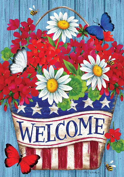 PATRIOTIC FLOWERS LARGE DOUBLE SIDED FLAG