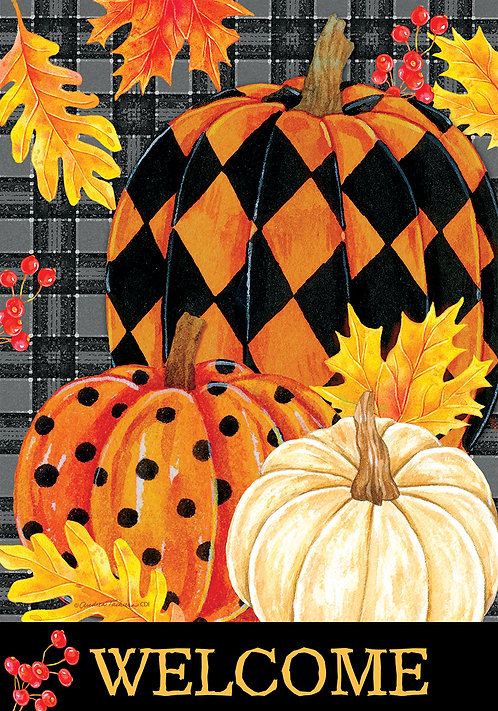 PAINTED PUMPKINS DOUBLE SIDED FLAG