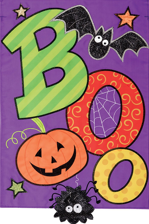 BOO SPIDER DOUBLE SIDED APPLIQUE FLAG