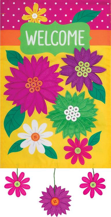 BRILLIANT FLOWERS APPLIQUÉ FLAG
