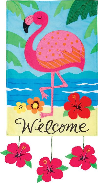 FLAMINGO WELCOME APPLIQUÉ FLAG