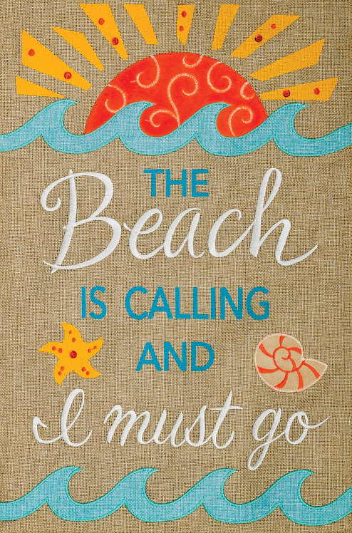 BEACH CALLING BURLAP FLAG