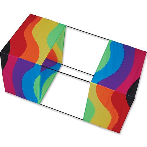 """40"""" BOX KITE -WAVY RAINBOW"""