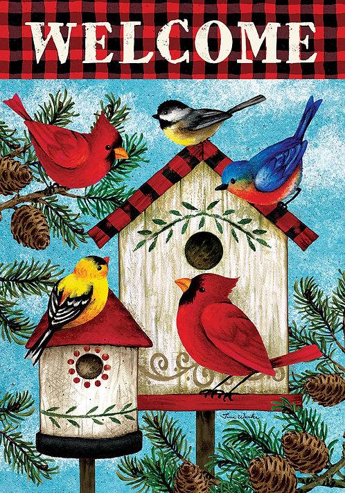 WINTER BIRDS DOUBLE SIDED FLAG