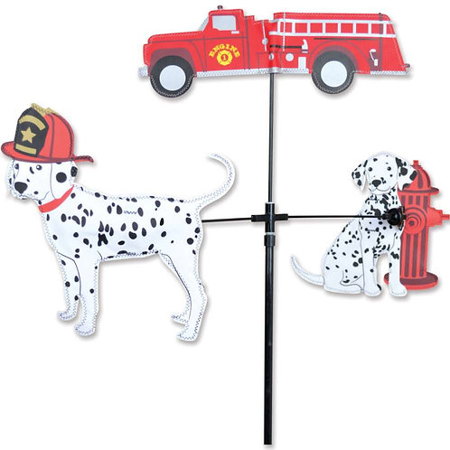 28in FIRE TRUCK & DALMATIONS SINGLE CAROUSEL SPINNER