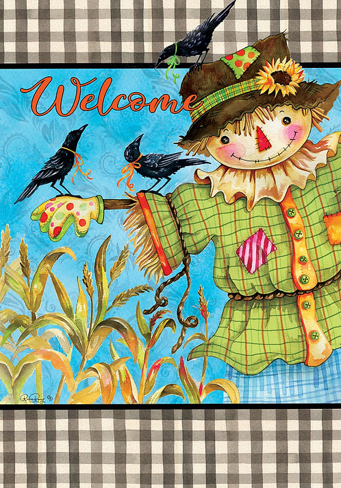GINGHAM SCARECROW DOUBLE SIDED FLAG