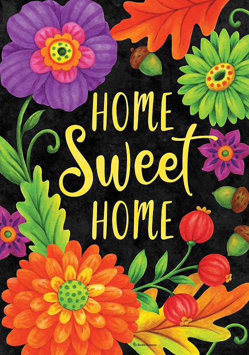 HOME SWEET FLOWERS DOUBLE SIDED FLAG