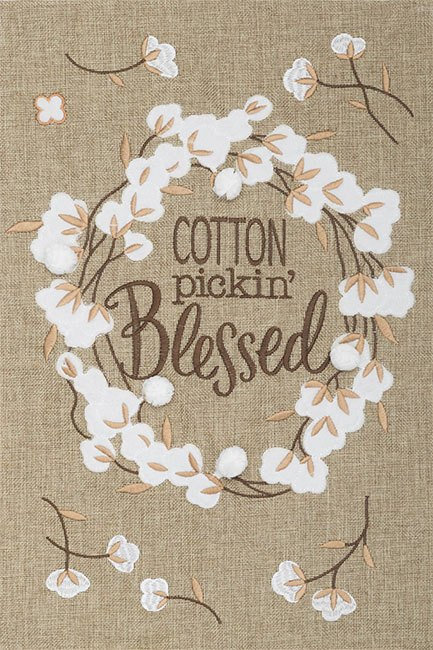 COTTON PICKIN'BLESSED BURLAP FLAG