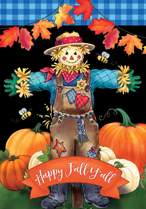 SCARECROW ON BLACK LARGE DOUBLE SIDED FLAG