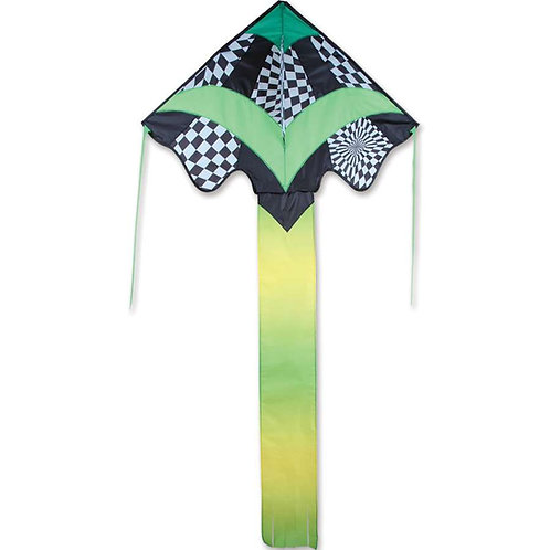 GREEN OP-ART LARGE EASY FLYER KITE