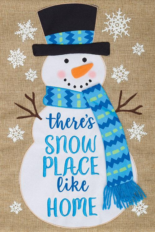 SNOW PLACE LIKE HOME BURLAP FLAG