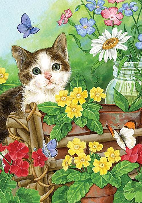 GARDEN CAT LARGE DOUBLE SIDED FLAG
