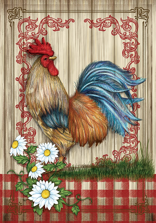 COUNTRY HOME ROOSTER LARGE DOUBLE SIDED FLAG