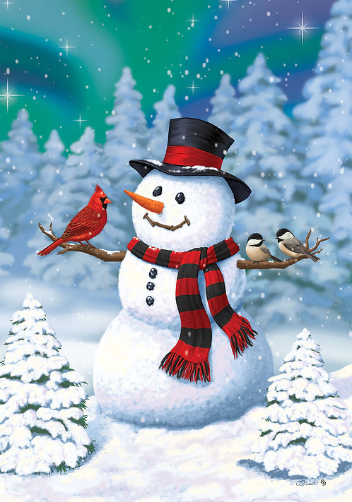 CHICKADEE SNOWMAN LARGE DOUBLE SIDED FLAG