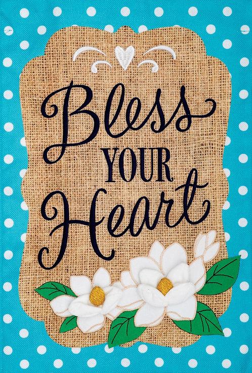 BLESS YOUR HEART BURLAP FLAG